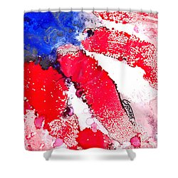 Patriotic Flag Abstract  Shower Curtain by GG Burns