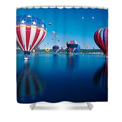 Patriotic Hot Air Balloon Shower Curtain by Jerry McElroy