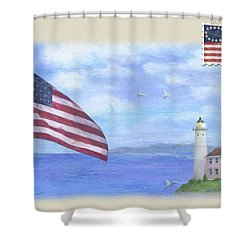 Shower Curtain featuring the painting Patriotic Illustrated Lighthouse by Judith Cheng
