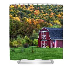 Patriotic Red Barn Shower Curtain