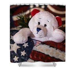 Patriotic Teddy Bear Shower Curtain