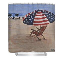 Patriotic Umbrella Shower Curtain by Debbie Baker
