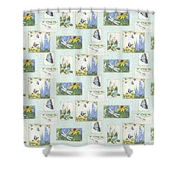 Pattern Butterflies Dragonflies Birds And Blue And Yellow Floral Shower Curtain by Audrey Jeanne Roberts