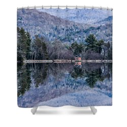 Patterns And Reflections At The Lake Shower Curtain by Nancy De Flon