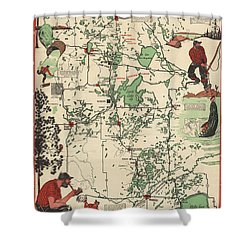 Paul Bunyan's Playground - Northern Minnesota - Vintage Illustrated Map - Cartography Shower Curtain