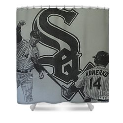 Shower Curtain featuring the drawing Paul Konerko Collage by Melissa Goodrich