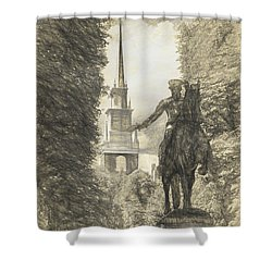 Paul Revere Rides Sketch Shower Curtain