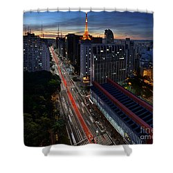 Paulista Avenue And Masp At Dusk - Sao Paulo - Brazil Shower Curtain