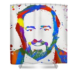 Pavarotti Colorful Paint Splatter Shower Curtain by Dan Sproul