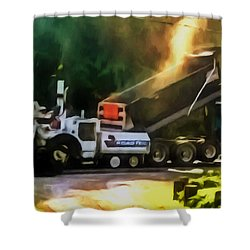 Pavement Machine Laying Fresh Asphalt  On Top Of The Gravel Base During Highway Construction Shower Curtain