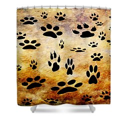 Shower Curtain featuring the digital art Paw Prints by Andee Design