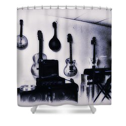Pawn Shop Guitars Shower Curtain by Bill Cannon