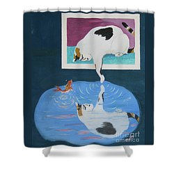 Shower Curtain featuring the painting Paws And Effect by Phyllis Kaltenbach