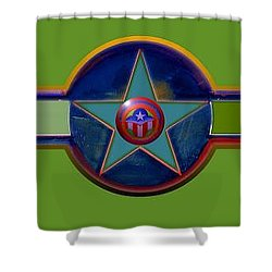 Shower Curtain featuring the digital art Pax Americana Decal by Charles Stuart