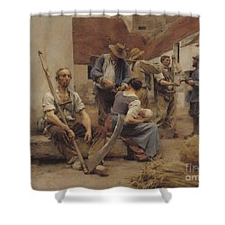 Paying The Harvesters Shower Curtain by Leon Augustin Lhermitte