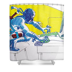 Pc Ninja Shower Curtain by Mike Jory