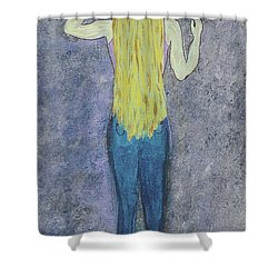 Shower Curtain featuring the mixed media Peace by Desiree Paquette