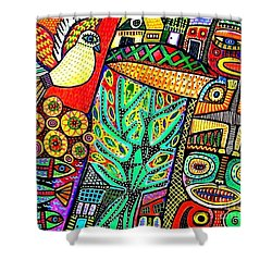 Peace Dove In Totem Forest Shower Curtain by Sandra Silberzweig