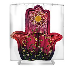 Shower Curtain featuring the painting Peace Hamsa by Patricia Arroyo