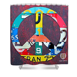 Peace License Plate Art Shower Curtain by Design Turnpike