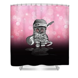 Peace  Love  Rock N Roll Shower Curtain by Cindy Anderson