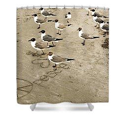 Peace On The Beach Shower Curtain by Marilyn Hunt