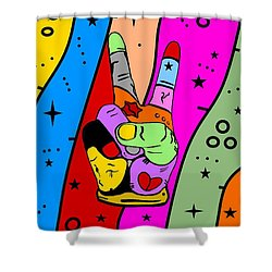Peace Popart By Nico Bielow Shower Curtain