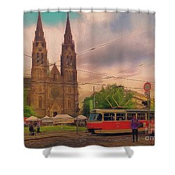 Peace Square Prague Shower Curtain