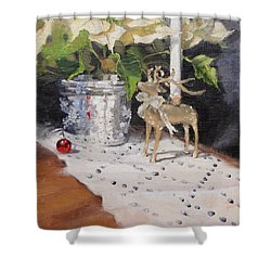 Shower Curtain featuring the painting Peace To All Two by Laura Lee Zanghetti
