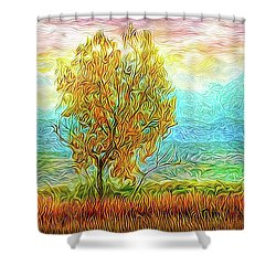 Peace Tree Sunset Shower Curtain