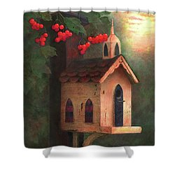 Shower Curtain featuring the painting Peaceful Autumn by Nancy Lee Moran