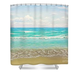 Shower Curtain featuring the painting Peaceful Beach by Jimmie Bartlett