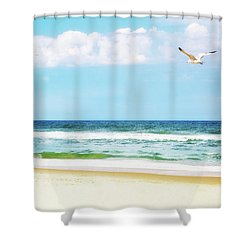Peaceful Beach With Seagull Soaring Shower Curtain