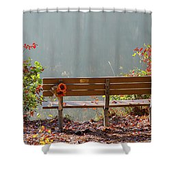 Shower Curtain featuring the photograph Peaceful Bench by George Randy Bass