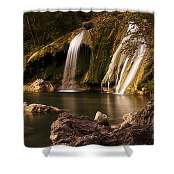 Shower Curtain featuring the photograph Peaceful Day At Turner Falls by Tamyra Ayles