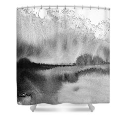 Peaceful Evening - Abstract Ink Rural Landscape Art Shower Curtain
