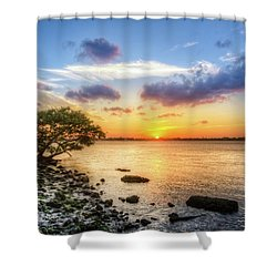 Shower Curtain featuring the photograph Peaceful Evening On The Waterway by Debra and Dave Vanderlaan