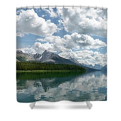 Shower Curtain featuring the photograph Peaceful Maligne Lake by Sebastien Coursol