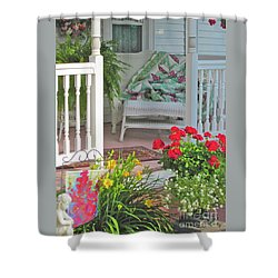 Shower Curtain featuring the photograph Peaceful Porch In A Small Town by Nancy Lee Moran
