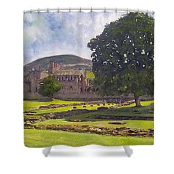 Peaceful Retreat - Melrose Abbey  Shower Curtain