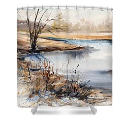 Peaceful Stream Shower Curtain by Judith Levins