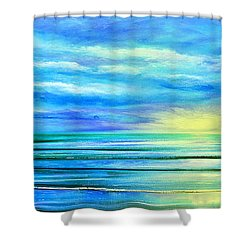 Peacefully Blue - Panoramic Sunset Shower Curtain