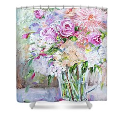 Peach And Pink Bouquet Shower Curtain