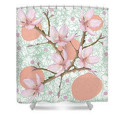 Peach Blossom Pattern Shower Curtain