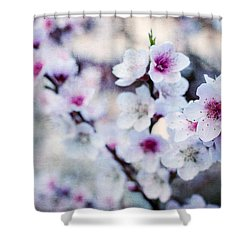 Shower Curtain featuring the photograph Peach Flowers by Laura Melis
