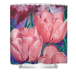 Perennially Perfect  Peach Pink Tulips Shower Curtain