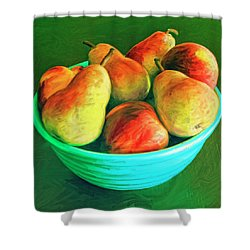 Peaches And Pears Shower Curtain by Dominic Piperata