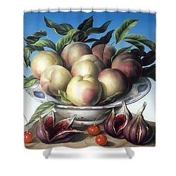 Peaches In Delft Bowl With Purple Figs Shower Curtain by Amelia Kleiser