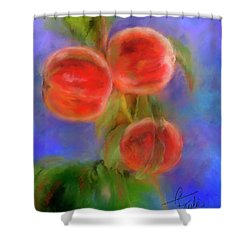 Peachy Keen Shower Curtain by Colleen Taylor