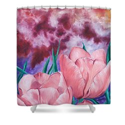 Peachypink Tulips Shower Curtain by Sigrid Tune